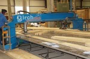 Hydraulic Press Fixing Galvanised Nail Plates To Truss Timber Members