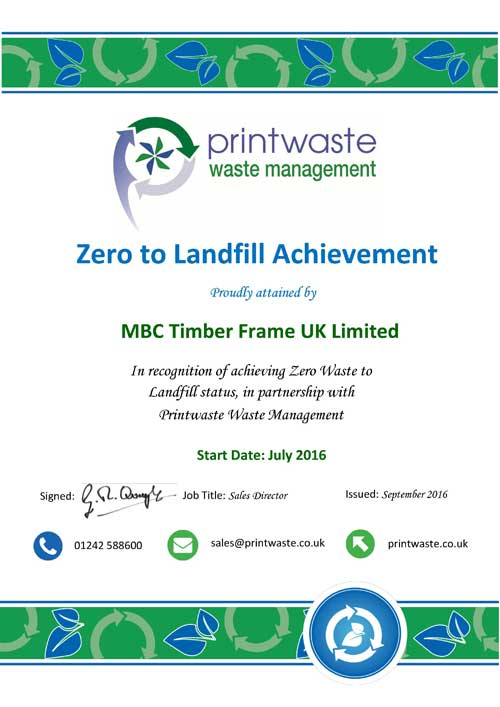 Zero to Landfill Achievement Certification for MBCTimberframe