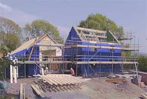 Llechwedd Timber Frame Being Erected